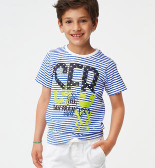 Colorata t-shirt fantasia rigata ido BIANCO-ROYAL-6MY8