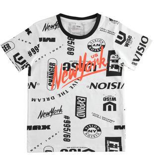 T-shirt bambino a manica corta 100% cotone ido BIANCO-NERO-6MR5