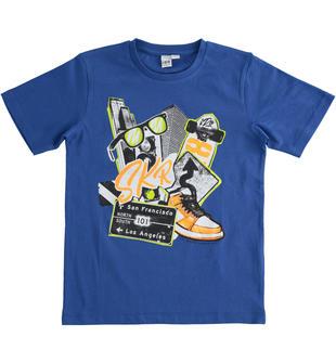T-shirt bambino 100% cotone con grafica colorata effetto fumetto ido ROYAL SCURO-3755