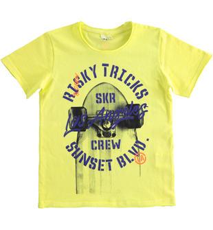 T-shirt 100% cotone tema skateboard ido VERDE-5243