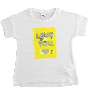 T-shirt con paillettes e tulle ido BIANCO-0113