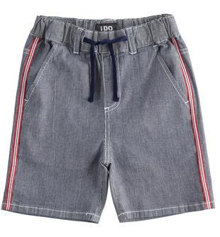 Pantalone corto in tessuto effetto denim rigato ido STONE WASHED-7450