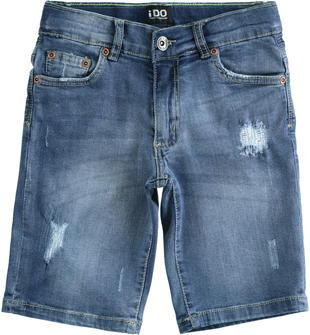 Pantalone corto in denim stretch con rotture ido SOVRATINTO BEIGE-7180