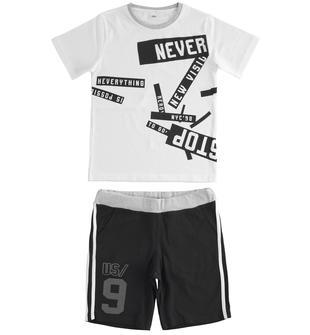Completo due pezzi per bambino in jersey 100% cotone ido BIANCO-NERO-8057