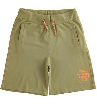 Pantalone corto in felpa modello basket style ido SAGE GREEN-5526