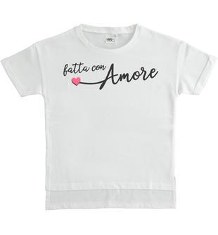 T-shirt modello particolare con grafiche diverse ido BIANCO-0113