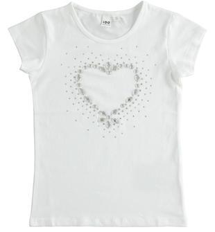 Comoda t-shirt bambina a manica corta in cotone con cuore con strass ido BIANCO-0113