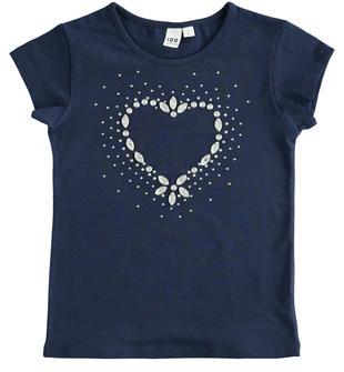 Comoda t-shirt bambina a manica corta in cotone con cuore con strass ido NAVY-3854
