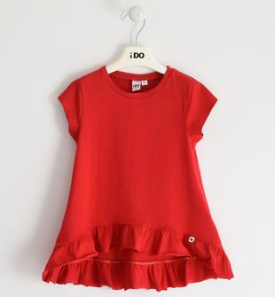 T-shirt 100% cotone con balza arricciata ido ROSSO-2256