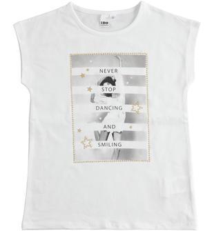 T-shirt in morbido jersey stretch con piccole borchie ido BIANCO-0113