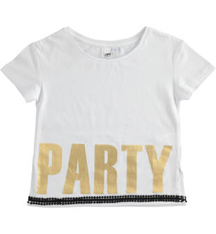 "T-shirt 100% cotone con scritta ""Party"" ido"