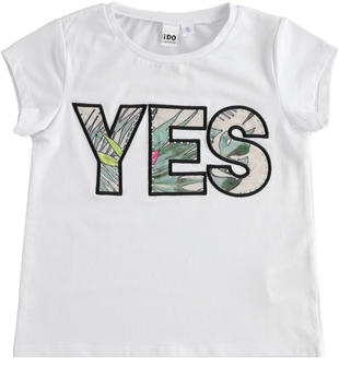 "T-shirt in jersey con scritta ""Yes"" ido BIANCO-0113"