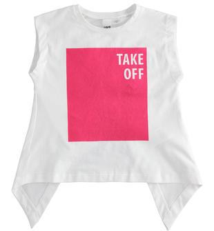 T-shirt con particolare apertura dietro ido BIANCO-0113
