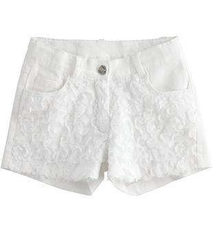 Shorts con tulle e organza ido BIANCO-0113