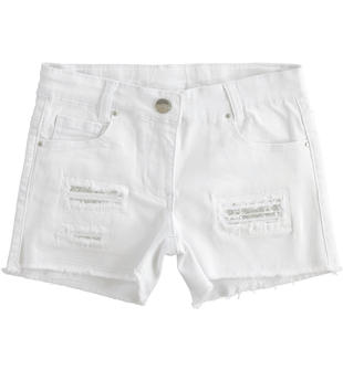 Short in twill con toppe di paillettes ido BIANCO-0113
