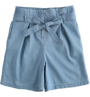 Pantalone bambina in denim leggero 100% cotone ido STONE BLEACH-7350