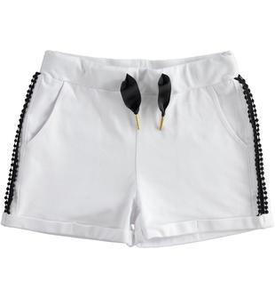 Short in jersey stretch con applicazione laterale ricamata ido BIANCO-0113
