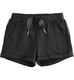 Short in jersey stretch con applicazione laterale ricamata ido NERO-0658