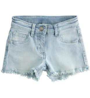 Shorts bambina in denim di cotone stretch ido