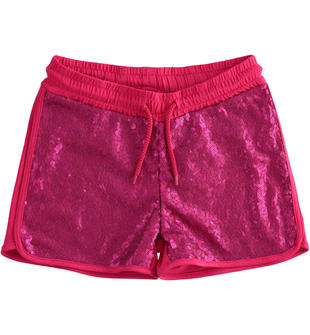 Short in jersey stretch con paillettes ido FUXIA-2355