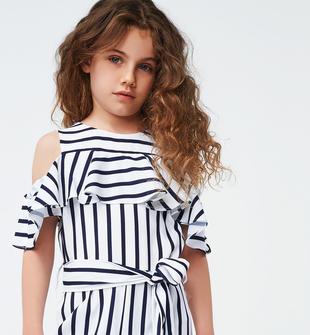 Tuta bambina in morbido tessuto stretch con gioco di righe orizzontali e verticali ido BIANCO-NAVY-6MS1