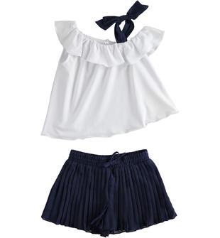 Completo bambina due pezzi con top e pantaloncino in voile plissettato ido BIANCO-BLU-8216