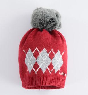 Cappello modello cuffia fantasia geometrica ido ROSSO-2536