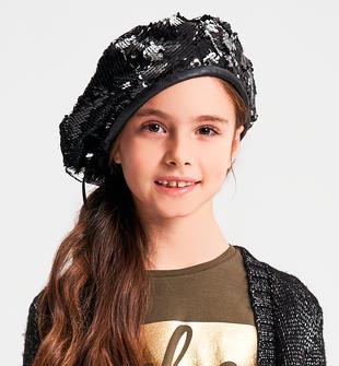 Cappello bambina modello basco in tessuto di paillettes ido NERO-0658