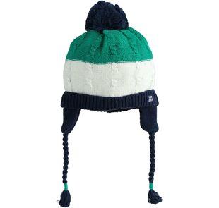 Berretto neonato misto cotone e lana con paraorecchie ido VERDE-4523