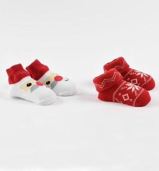 Confezione due paia di calzini neonato misto cotone disegni natalizi ido ROSSO-2253