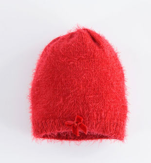 Cappello modello cuffia con lurex e fiocco ido ROSSO-2253
