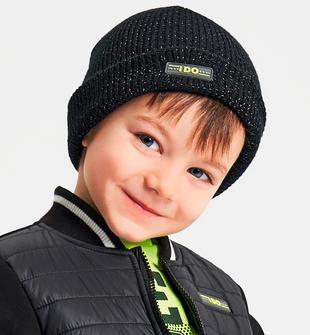 Cappellino modello cuffia con logo fluo ido NERO-0658