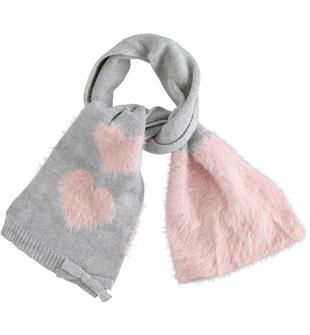 Sciarpa bimba in tessuto misto cotone lavorazione in doppio filato ido GRIGIO-ROSA-8129
