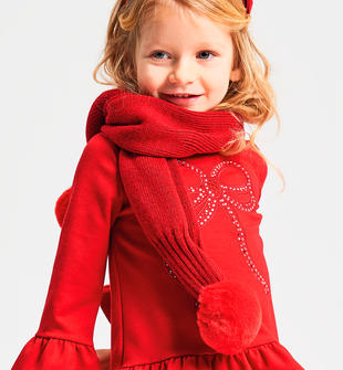 Sciarpa bimba in tricot misto lana con pon pon in ecopelliccia ido ROSSO-2253