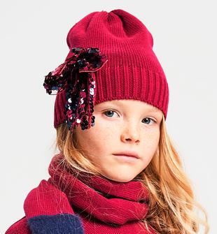 Berretto bambina con maxi applicazione fiocco in pailettes ido SANGRIA SCURO-2655