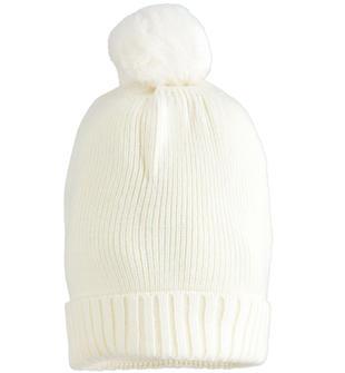 Berretto bambina misto lana con pon pon in ecopelliccia ido PANNA-0112