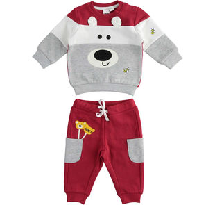 Simpatica tuta jogging invernale in misto cotone per neonato ido ROSSO-GRIGIO-8015