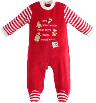 Tutina natalizia neonato in morbida ciniglia ido ROSSO-2253