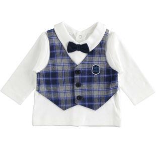 Maglietta 100% cotone con applicazione finto gilet e papillon ido PANNA-0112