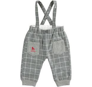 Pantalone 100% cotone a quadri con bretelle ido GRIGIO MELANGE-8993