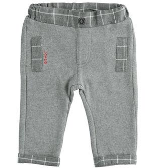 Pantalone in cotone smerigliato con rifiniture a quadretti ido GRIGIO MELANGE-8993