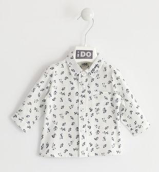 Camicia classica 100% cotone con cagnolini ido PANNA-BLU-6LF3