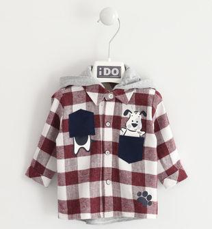 Camicia in flanella a quadri con cappuccio ido ROSSO-2536