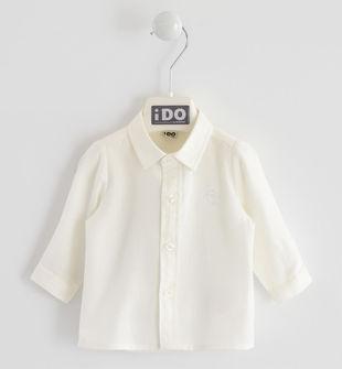 Camicia classica 100% cotone con ricamo ido PANNA-0112