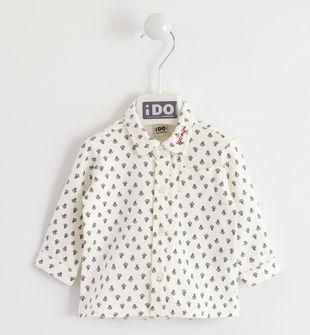 Camicia in jersey elasticizzato con micro fantasia ido PANNA-GRIGIO-6LG4