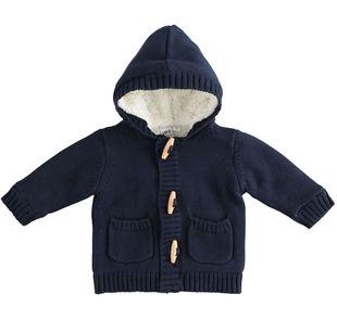 Giubbotto neonato blu in morbido tricot di cotone con cappuccio ido NAVY-3885