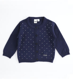Morbido tricot con viscosa e strass ido NAVY-3854