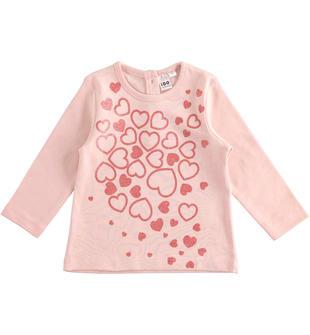 Maglietta in cotone con cuori glitter ido ROSA-2715