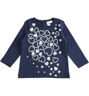 Maglietta in cotone con cuori glitter ido NAVY-3854