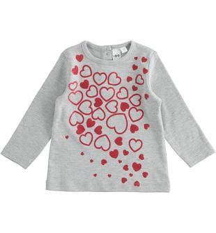 Maglietta in cotone con cuori glitter ido GRIGIO MELANGE-8992